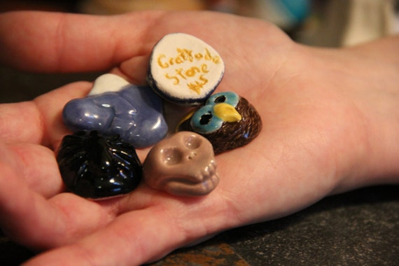 Custom Ceramic Gratitude Stone, glazed