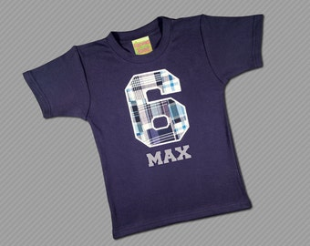 Boy's Birthday Shirt with Plaid Number and Embroidered Name - M7