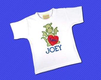Boy's Valentine Shirt with Heart Dragon and Embroidered Name - White Shirt