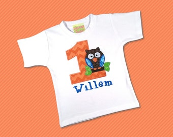 Boy's Birthday Shirt with Cutie Owl Birthday Number and Embroidered Name