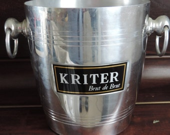 Vintage French Aluminium  Champagne Ice Bucket Cooler, Kriter brand