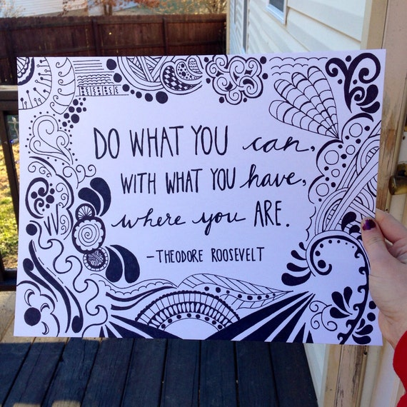 Items similar to Hand Drawn Inspirational Theodore ...  Items similar t...