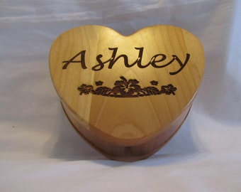Personalized Wooden Heart Keepsake Box With Custom Engraved Name and Image