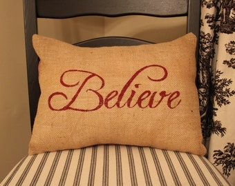 Burlap Pillow Cover- Christmas Pillow - Holiday Pillow - Handmade