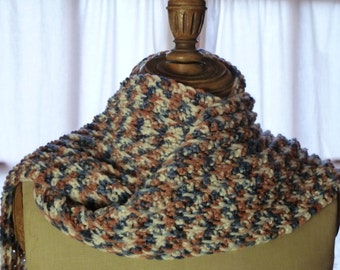 Blue and Brown crochet scarf