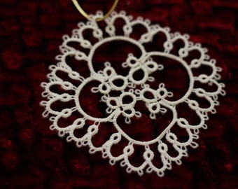 Tatted Lace Snowflake #15; Christmas Tree Decoration, Lace Ornament, White Lace Decoration, Thirteenth  Anniversary Gift