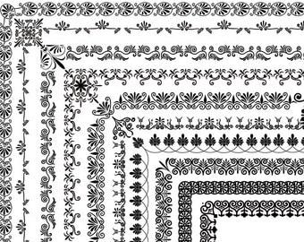 Instant Download 10 Full Page Digital Border Clip Art Flourish Swirl Border Clipart Scrapbooking Border Element Black Swirl Border 0221