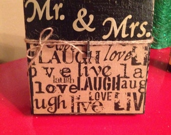 """Rustic Wood Photo Frame with Decoupage """"Live, Laugh, Love"""" Scrapbook Paper, Twine & Clip Holder  CAN BE CUSTOMIZED"""