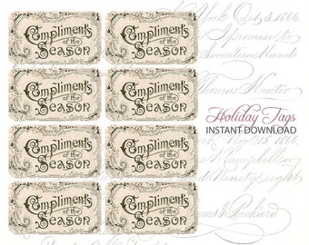 Digital Vintage Tags - Christmas Tags - Holiday Tags - Download Gift Tags - Vintage Cards - Gift Tags Printable - INSTANT DOWNLOAD