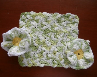 Wash Cloths - Set of 3 - Lime and Yellow - 100% Cotton - Hand Crocheted - Kitchen - Dishcloth - Spring Colors - Scrubber - New - Housewares