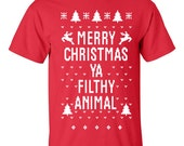 Merry Christmas Ya Filthy Animal Red t-shirt shirt sweatshirt mens womens unisex XS S M L XL XXL 3X 4X Holiday