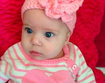 Crochet Headband with flower and button
