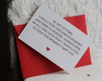 Mini 'The Moment I Met You' Card, Romantic Card, Valentines Card, Love Card, 85x55 card
