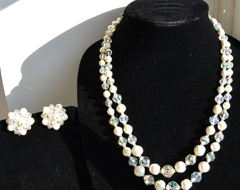 Laguna Pearl and Aurora Borealis Crystal Bead Necklace with Matching Clip On Earrings (F1)