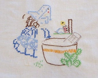 Dish Towel,  Embroidered White Cotton, of a Mexican Laundress, from the '50's