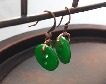 Cute as a Button Earrings - Green Button Earrings