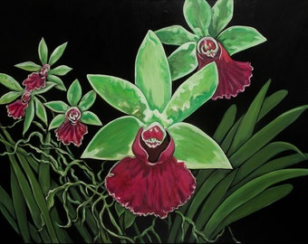 ORCHID # 9, orchid paintings, floral painting, orchid prints, botanical paintings, contemporary art paintings,floral prints
