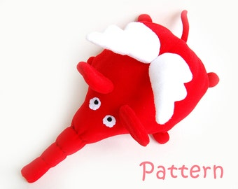 Stuffed toy Pattern PDF Elephant plush animal INSTANT DOWNLOAD