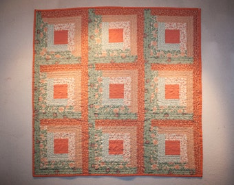 Peach and Green Log Cabin Wall Quilt