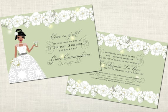 southern magnolia african american bridal shower invitations