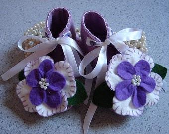 Lavender Wool Felt Flower Shoes Size 3