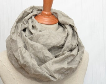Linen scarf, Linen Infinity Scarf, Chunky Scarf, Natural Linen. Original color.