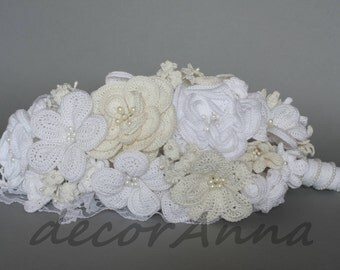 Wedding fabric bouquet - ivory flowers