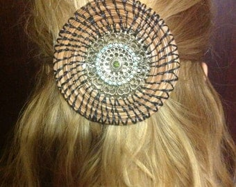 Jeweled Hair Barrette with Coiled Pine Needles