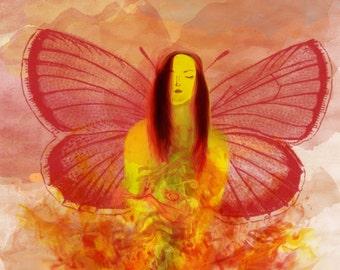 Fire Fairy Original Art Print SFA