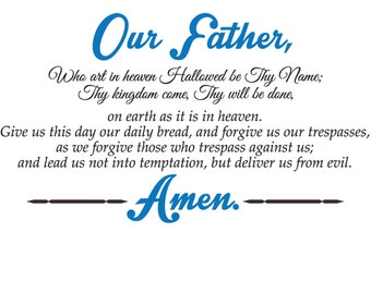 Our father who art wall decal | Christian Wall Decal | The Lord's Prayer wall decal