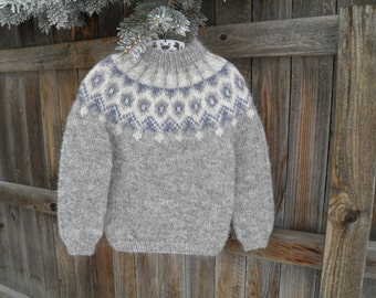 Handknit Icelandic Lopi Sweater, Child's size 3T.  Eco-Friendly Handknit Children's Sweaters by Tangled Web Knitwear