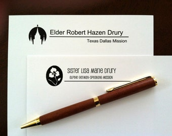 PERSONALIZED Missionary Stationery & Note Cards -with matching logo envelope stickers-