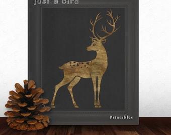 Deer antler, INSTANT DOWNLOAD,  deer nursery printable, Deer print, Deer Head printable, Nursery Decor, printable deer, Deer Art Print