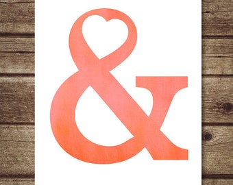 Ampersand wall art - Red Ampersand Poster - Typography Poster Print, Red nursery decor - INSTANT DOWNLOAD