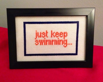 Finished Cross Stitch. Finding Nemo. Just Keep Swimming.