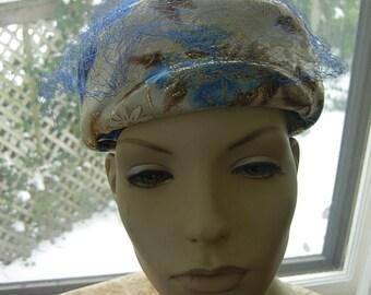 Gorgeous 1950s-60s Pill Box Gold Lame Floral Women's Hat