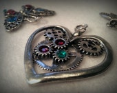 Steampunk Valentine Pendant - Heart and Gears Solid Cast USA Pewter