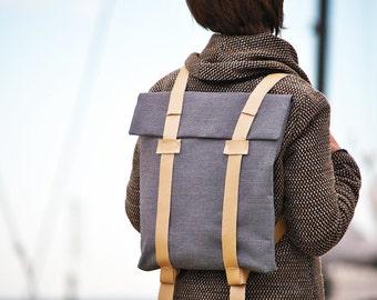 Womens backpack, minimalist canvas and leather ruckack, custom rucksack 202
