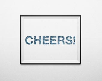 Cheers Printable Wall Picture Poster Postcard Art Digital Instant DOWNLOAD Print Jpeg Pdf