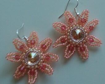 Corail Butterscoth  Crystal Swarovski Earrings