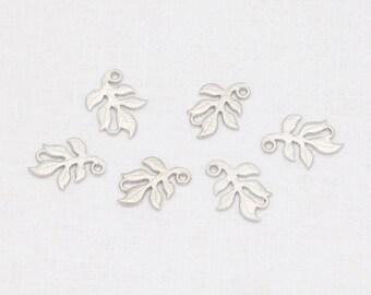 Leaf Connector, Pendant Matte Rhodium-Plated - 4 Pieces <GG0049-MR>