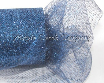 NAVY BLUE Glitter Tulle Roll 6in x 30ft - Sparkling Tulle (10 yards)