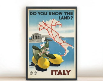 """Italy Vintage Poster Art Print Posters, Dorm Decor, Minimalist Art, Do You Know the Land Vintage Advertising Poster 13"""" x 19"""""""