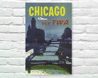 "Chicago Vintage Poster, Fly TWA, Bridges The Wind City Art Print, Art Posters, Minimalist Art 13"" x 19"""