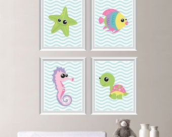 Cute Sea Life Creature Print Quad - Baby. Decor. Nursery. Girl. Turtle. Seahorse. Starfish. Fish. - You Pick the Size & Colors (NS-266)