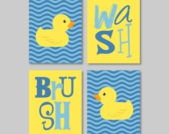 Kids Bathroom Art. Kids Bathroom Decor. Rubber Duckie Bathroom Art. Rubber Duck Bath Art. Navy Blue Yellow. Duck Art. Duck Print. (NS-338)