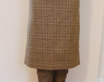 Wool plaid pencil skirt