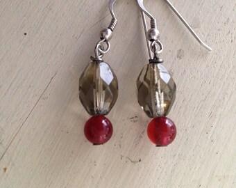 Smoky Quartz and Garnet Earrings