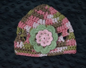 Crochet baby Hat with Flower FREE SHIPPING in the USA
