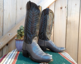 Vintage Grey and Black OLSEN-STELZER Women's Cowboy Boots Size 6